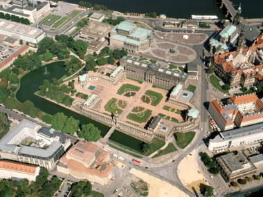 Aerial view of the Dresden Zwinger